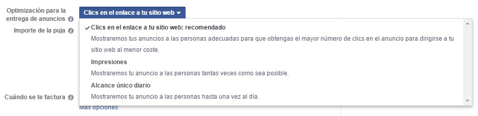 optimizacion subhasta facebook ads